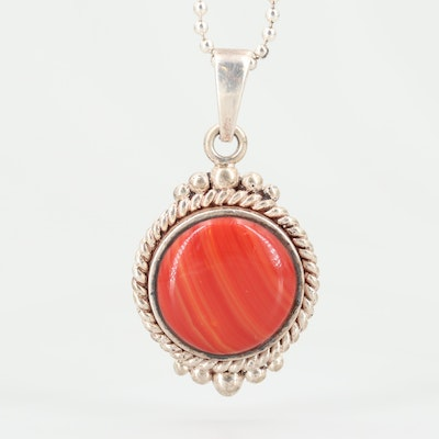 Sterling Silver Glass Pendant Necklace