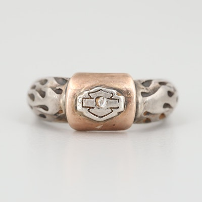 Sterling Silver Cubic Zirconia Ring with 10K Rose Gold Accents