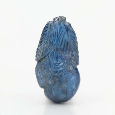 Loose 7.24 CT Carved Blue Sapphire Gemstone