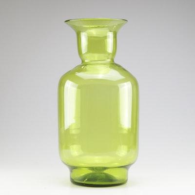 Blenko Glass Floor Vase in Green, Mid-Century