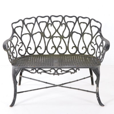 Outdoor Iron Bench, Mid to Late 20th Century