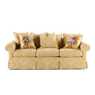 Upholstered Yellow Damask Sofa with Shantalle Hand Painted Pillows