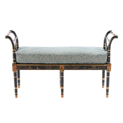 Chinoiserie Style Paint Decorated Bench, Late 20th Century