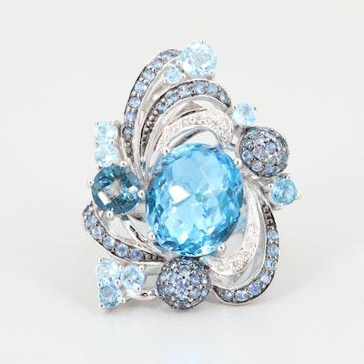 Le Vian 14K White Gold Topaz, Diamond and Sapphire Ring