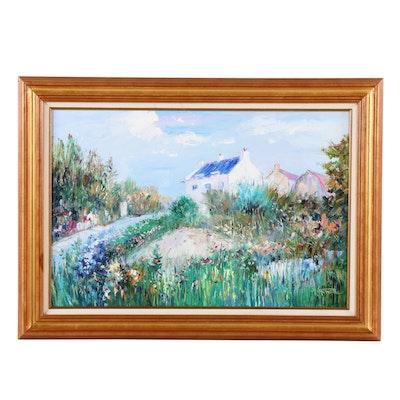 H. Stone Landscape Oil Painting