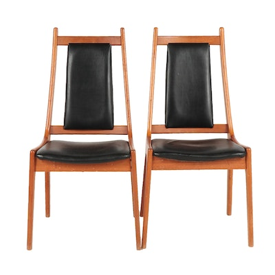 Pair of Nordic Furniture Mid Century Modern Chairs with Vinyl Upholstered Seats