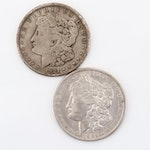 1892 and 1921 Silver Morgan Dollars