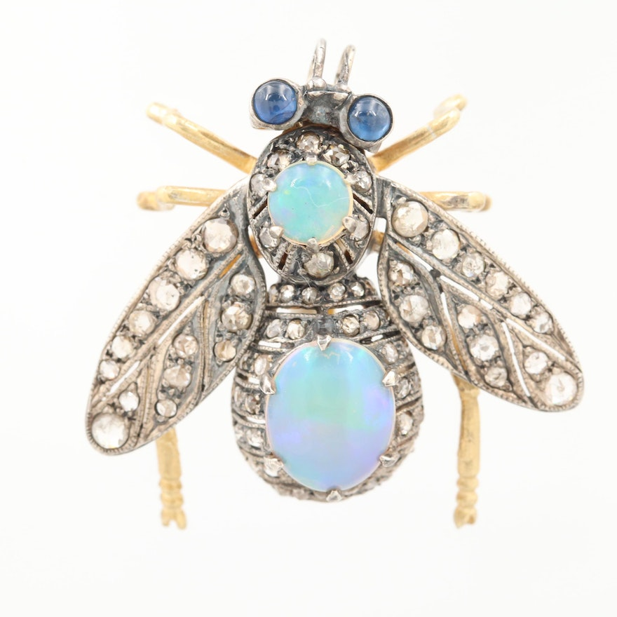 Two Tone Sterling Silver Opal, Blue Sapphire and Diamond Articulated Fly Brooch
