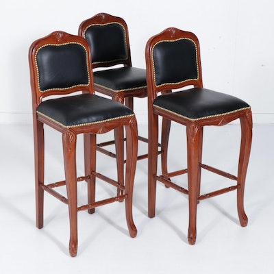 Contemporary Louis XV Style Faux Leather and Mahogany-Finish Wood Bar Chairs