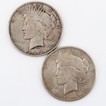 1922 and 1926-S Silver Peace Dollar
