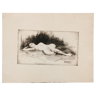 Paul Chidlaw Etching of Reclining Female Nude