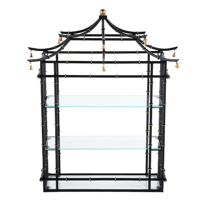 Tole Painted Pagoda Form Hanging Shelf, 20th Century
