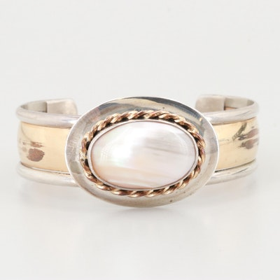 Sterling Silver Mother of Pearl Cuff Bracelet with Gold Filled Accents