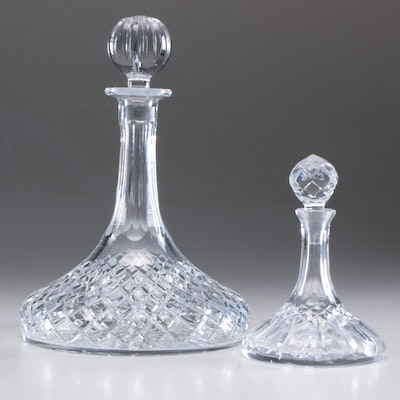 Crystal Ship Decanters with Stoppers, Late 20th Century