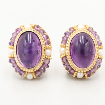Tilson Gem Designs 18K Yellow Gold Amethyst and Cultured Pearl Button Earrings