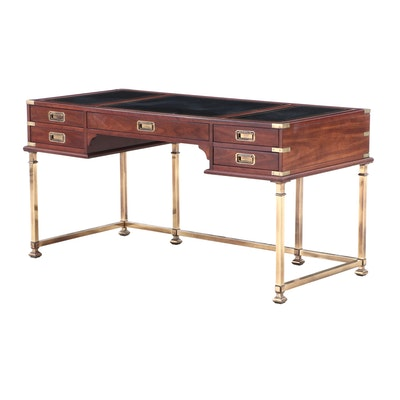 Campaign Style Cherry Desk on Antiqued Brass Base by Sligh