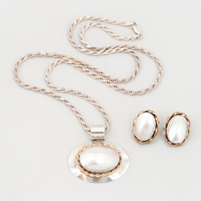 Sterling Silver Mother of Pearl Earrings and Necklace with Gold Filled Accents