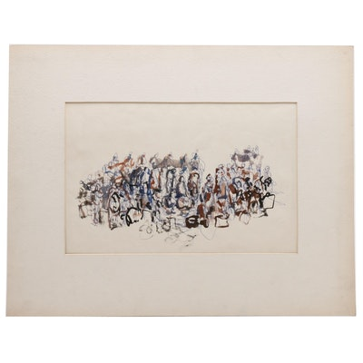 Paul Chidlaw Abstract Ink and Watercolor Drawing of Figures