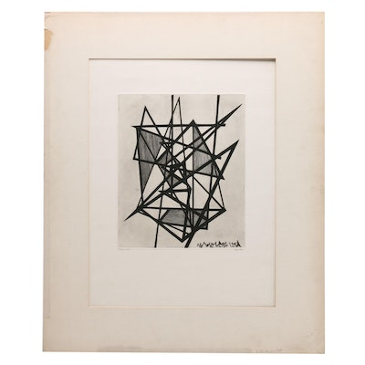 Pierre Louis Maurice Courtin 1950 Geometric Abstract Etching