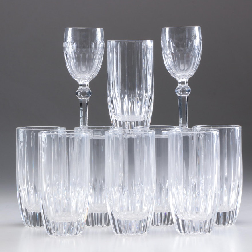 """Waterford Crystal """"Curraghmore"""" Sherry Glasses and Mikasa """"Park Lane"""" Glasses"""