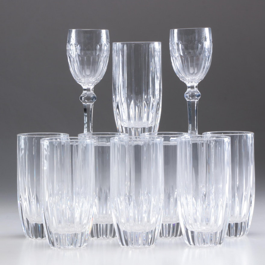"Waterford Crystal ""Curraghmore"" Sherry Glasses and Mikasa ""Park Lane"" Glasses"