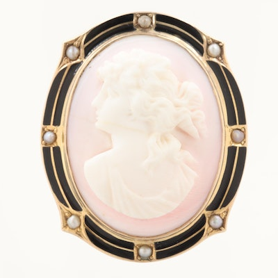 Vintage 10K Gold Conch Shell Cameo, Cultured Pearl and Enamel Converter Brooch