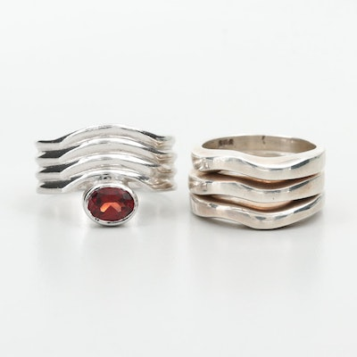 Assorted Sterling Silver Rings Featuring Garnet Ring