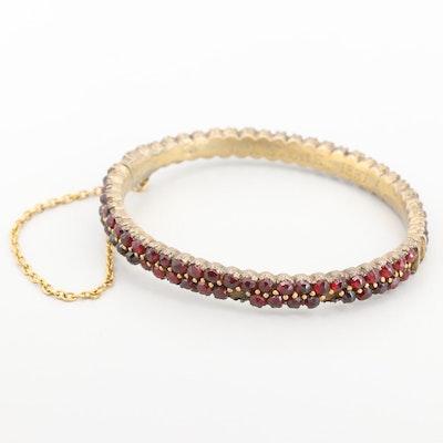 Victorian Gold Tone Garnet Bangle Bracelet
