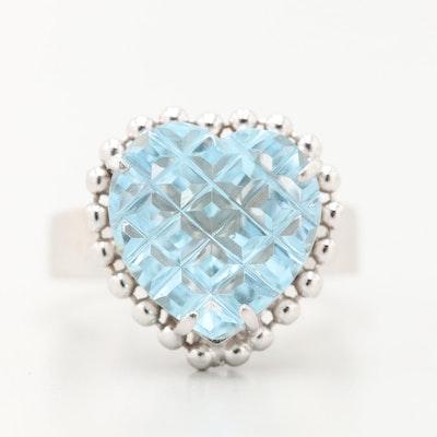 14K White Gold Blue Topaz Heart Ring