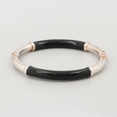 Milor Sterling Silver Enamel Bangle Bracelet