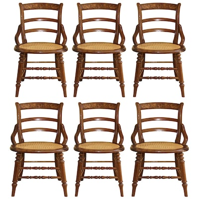 Six Late Victorian Poplar Kitchen Chairs, Late 19th Century