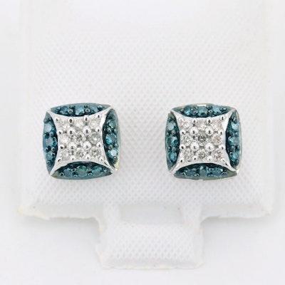 14K White Gold Blue and White Diamond Earrings