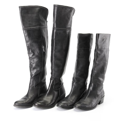 Women's Vince Camuto  and Nine West Black Leather Riding Boots