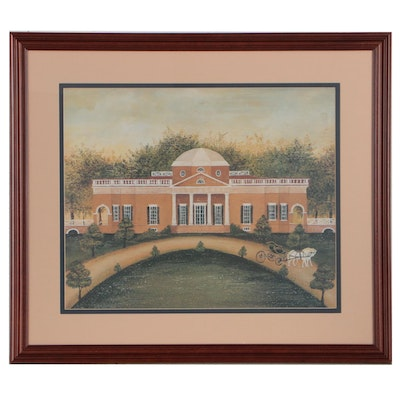 Offset Lithograph after a Folk Art Painting of Monticello