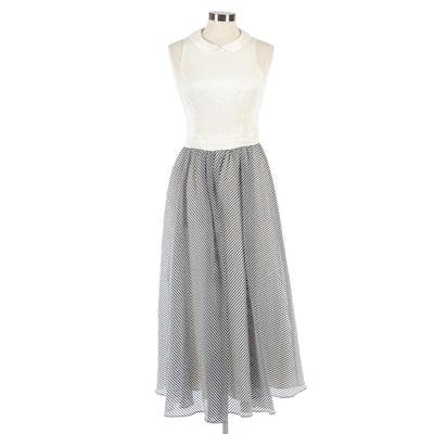 Cynthia Rowley Silk Sleeveless Maxi Dress with Peter Pan Collar