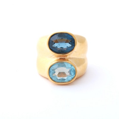 18K Heavy Gold Electroplate Blue Topaz Ring