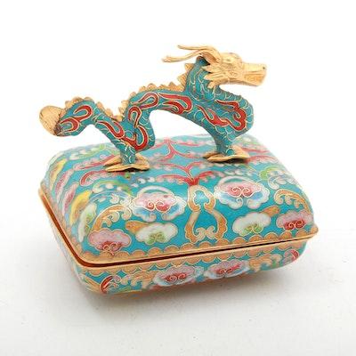 "Ardleigh Elliott Chinese Cloisonné ""Dragon's Dance"" Music Trinket Box"