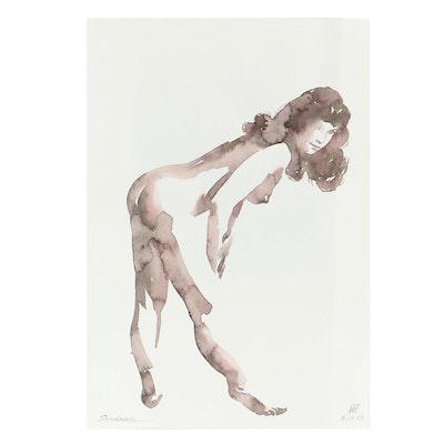 Anastasija Serdnova Watercolor of Standing Nude Female