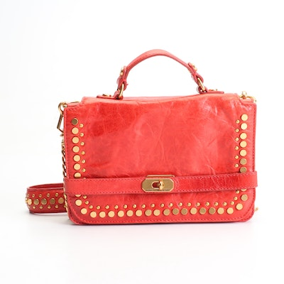 Rebecca Minkoff Studded Red Leather Flap Front Convertible Bag