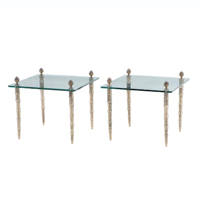 Pair of Cast Brass and Glass End Tables, Circa 1980s