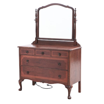 Queen Anne/Transitional Walnut Chest of Drawers with Mirror, Circa 1930