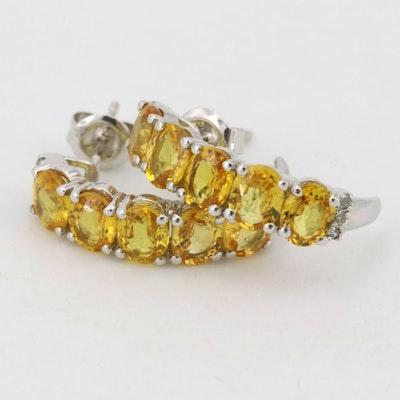 18K White Gold Yellow Sapphire Diamond Earrings