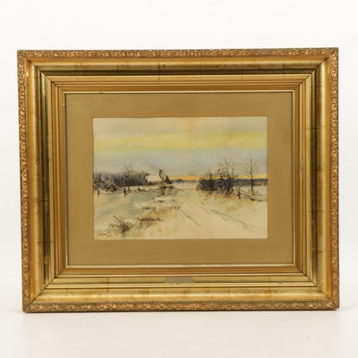 Early 20th Century Winter Landscape Watercolor Painting