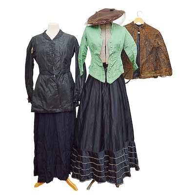 Victorian Clothing with Waistcoat, Skirts, Capelet, and Hat