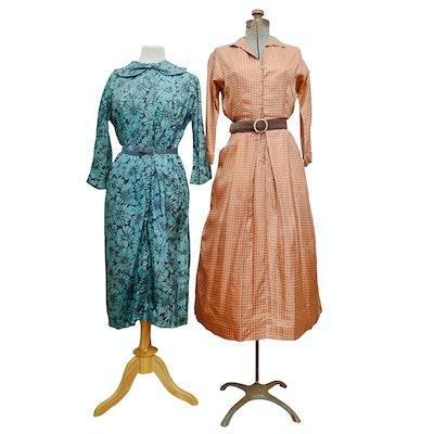 Hazel Greer Original Floral Print Dress and Other Dress, 1950s Vintage