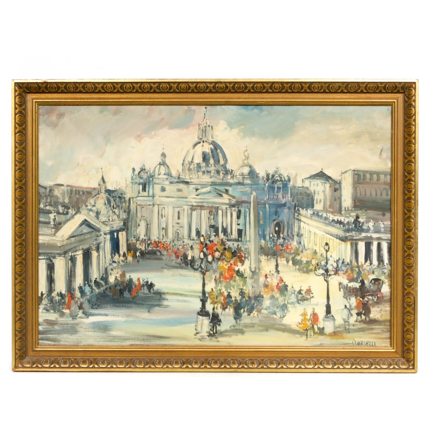 P. Orselli St. Peter's Basilica Oil Painting