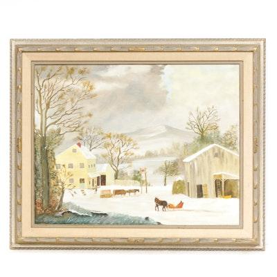 20th Century Winter Landscape Oil Painting