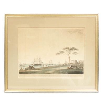 "Thomas Daniel  Hand-Colored Aquatint ""View Taken on the Esplanade, Calcutta"""