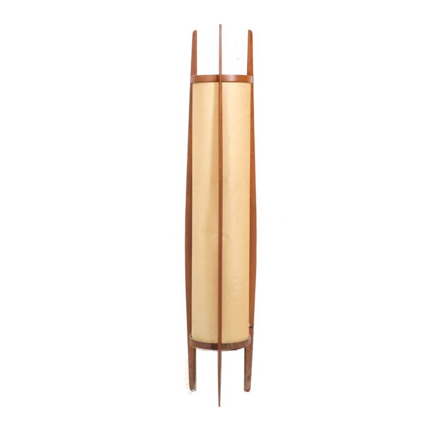 Mid Century Modern Walnut Framed Floor Lamp