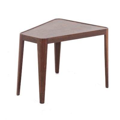 Wedge Shaped Walnut End Table by Edward Wormley for Dunbar, Mid-Century